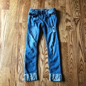 Girls ripped pearled capri jeans size 10